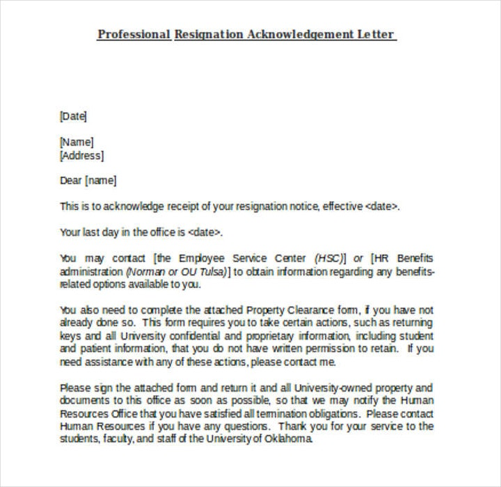 Employee Professional Resignation Acknowledgement Letter Template