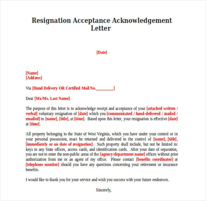 Employee Resignation Acceptance Acknowledgement Letter Template