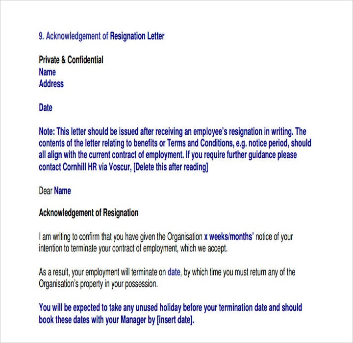 Employee Resignation Acknowledgement Letter in PDF