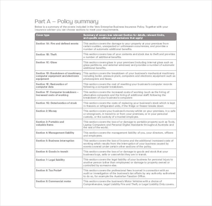 enterprise business policy template