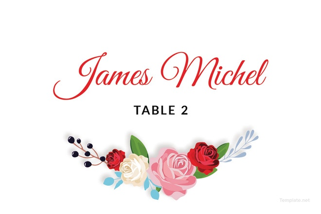 escort wedding place card template