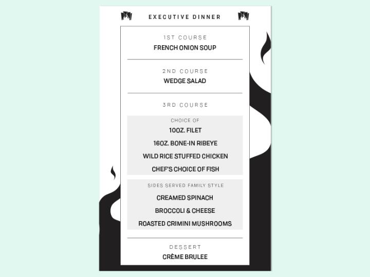 executive dinner menu design