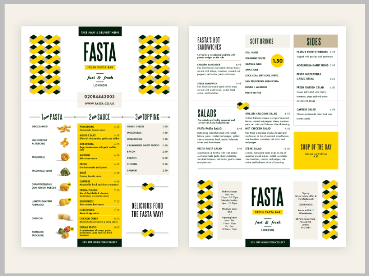 fasta takeaway menu design