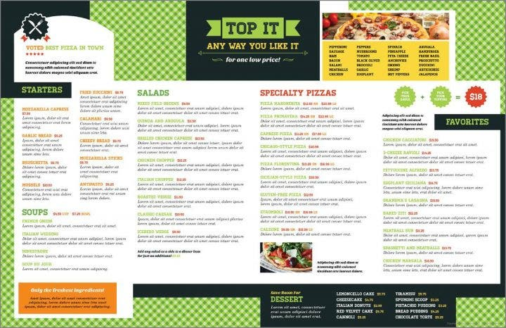 Pizzeria Menu Template 4