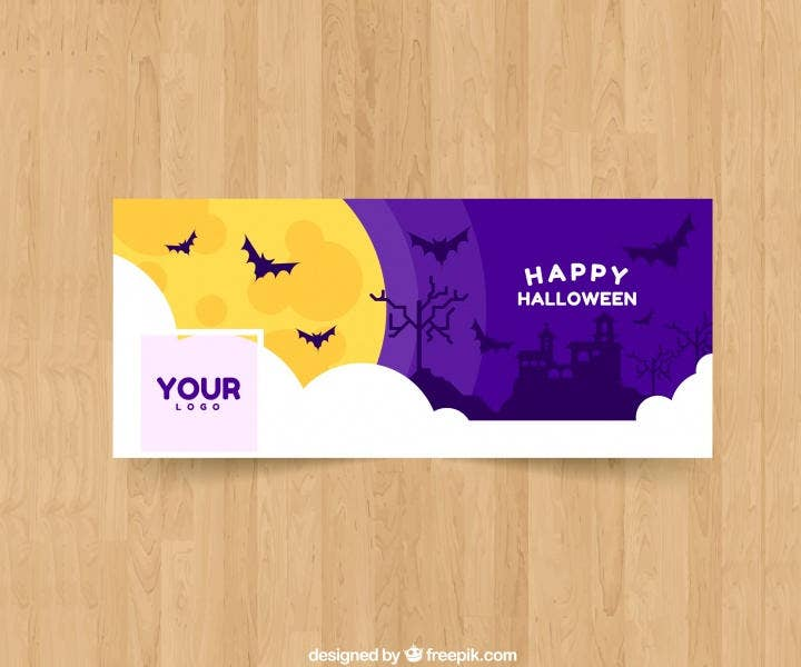 Facebook Cover with Bat Illustration
