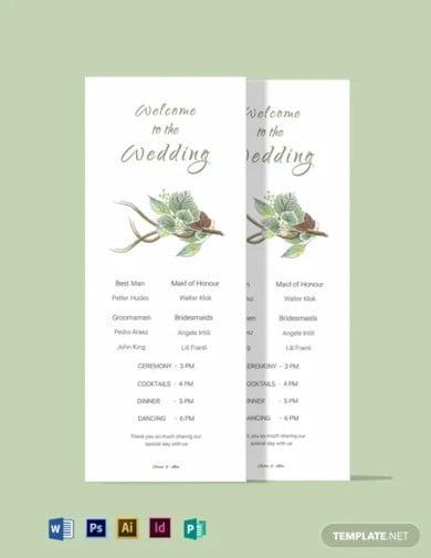 fall wedding program card template