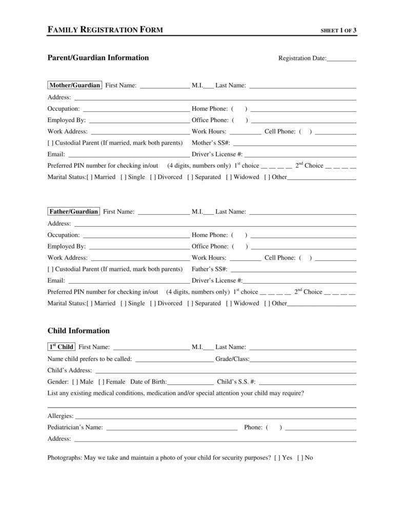 graphic regarding Home Daycare Forms Printable called 9+ Daycare Computer software Variety Templates - Free of charge PDF, Document Layout