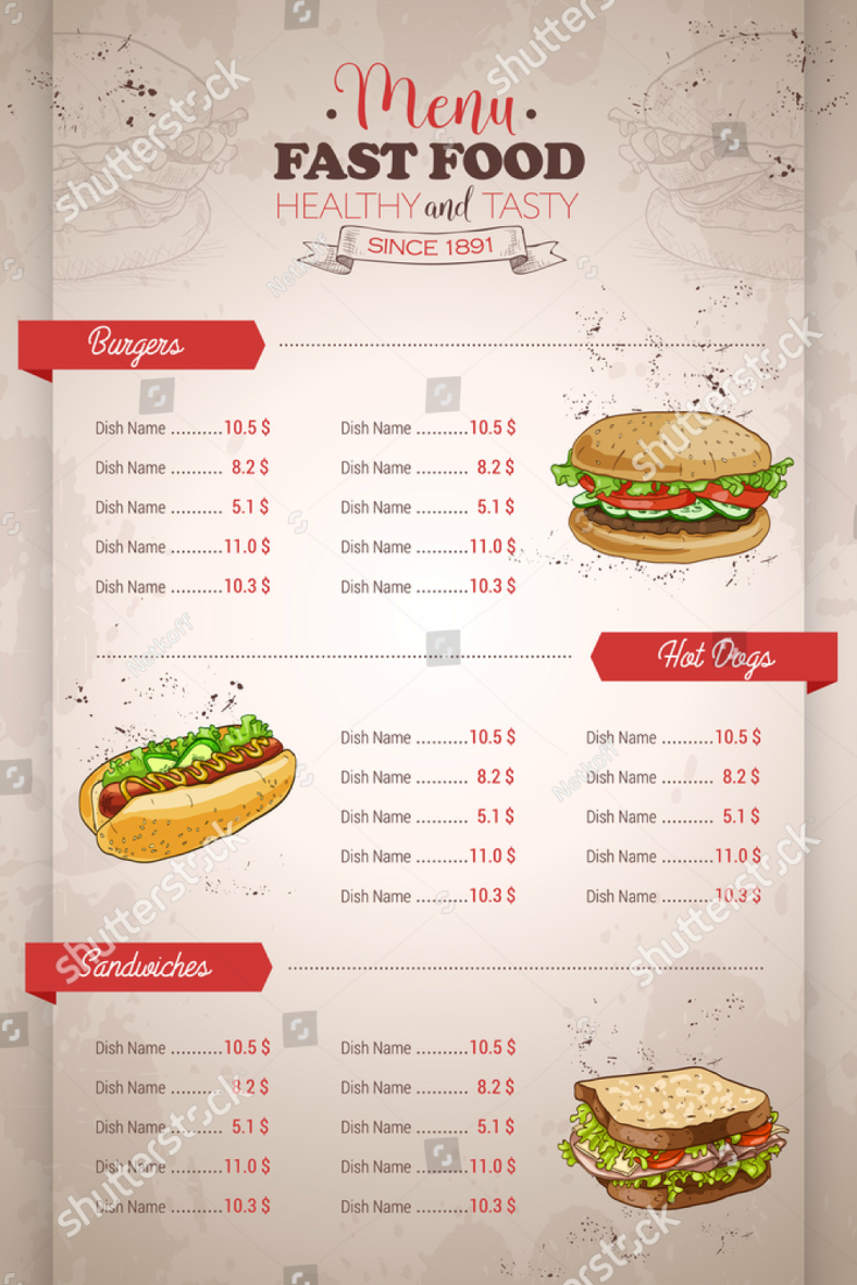 fast food sandwich menu design 788x1182