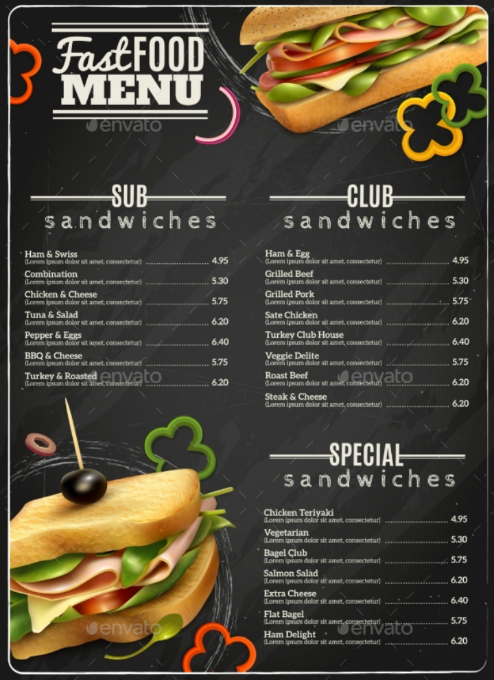 fast food sandwiches menu design