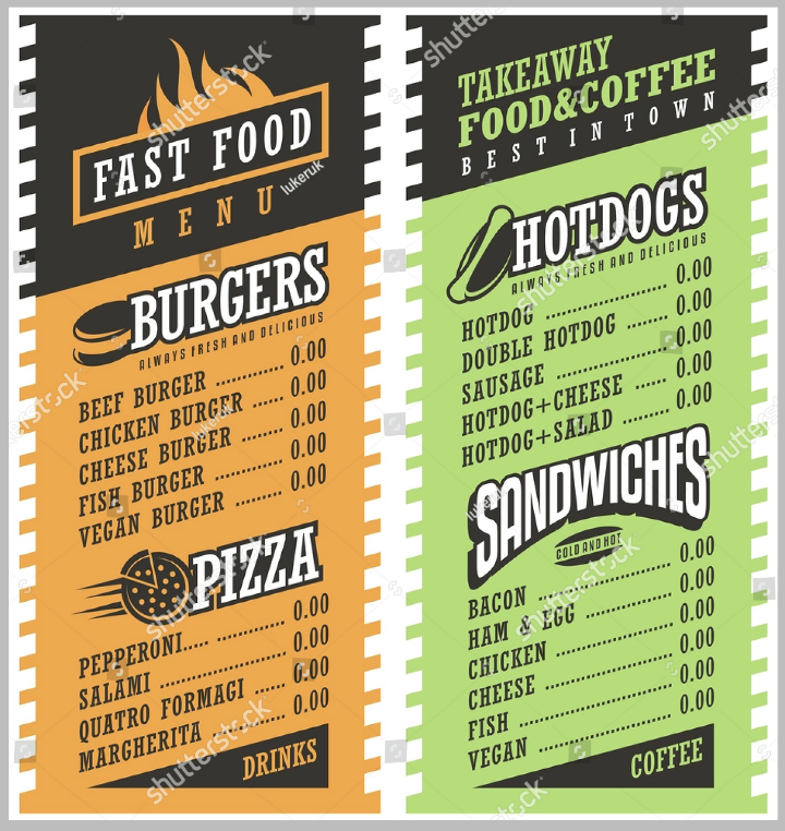 fast food simple takeaway menu design