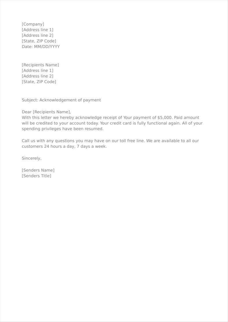 acknowledgement letter for payment made 9 payment acknowledgment letter templates free pdf doc 13444
