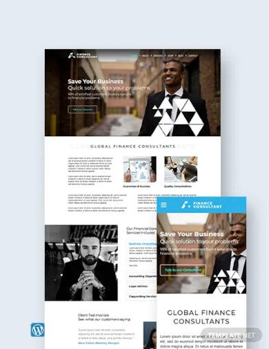 finance consultant wordpress theme template