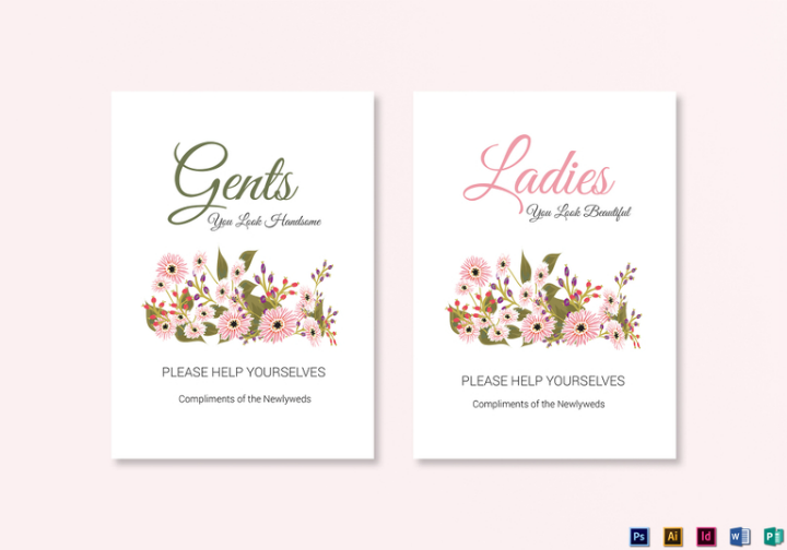 floral wedding bathroom signs template