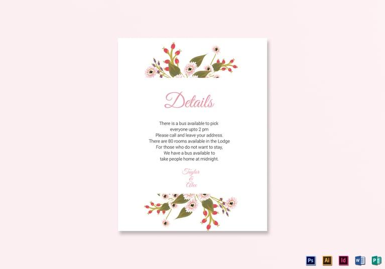 Floral Wedding Details Card