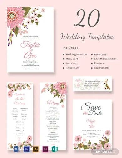 floral wedding templates includes 20 designs