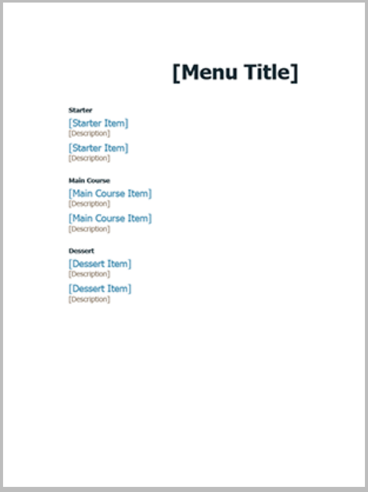 36  absolutely free menu templates