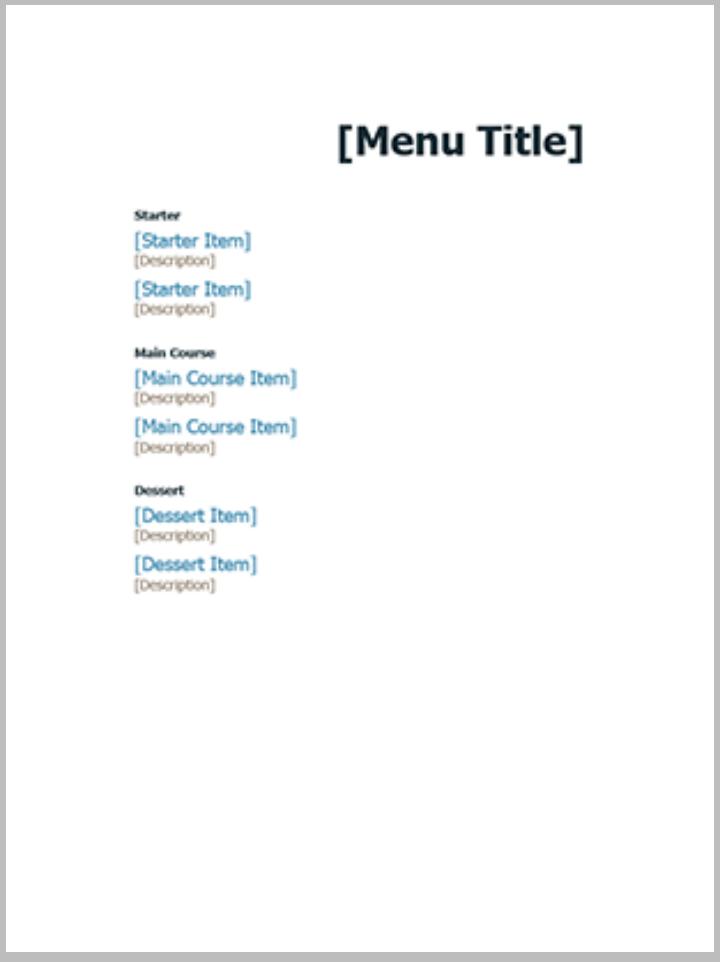 formal event menu template