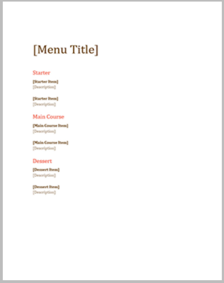 free blank event menu template