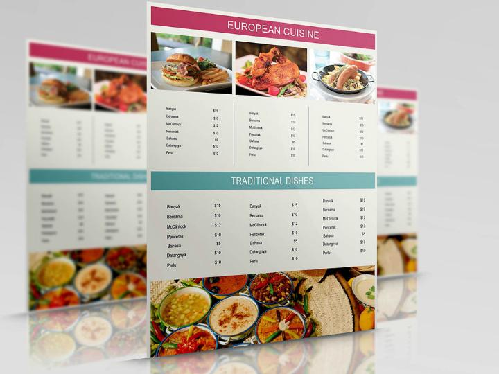 free european cuisine menu template
