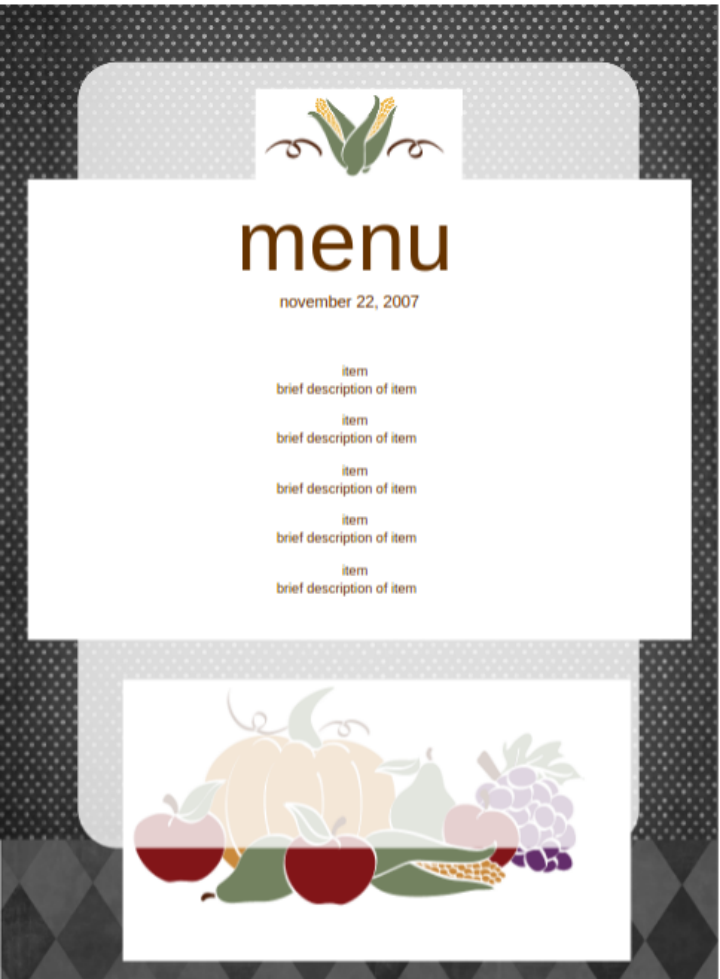 free party menu template