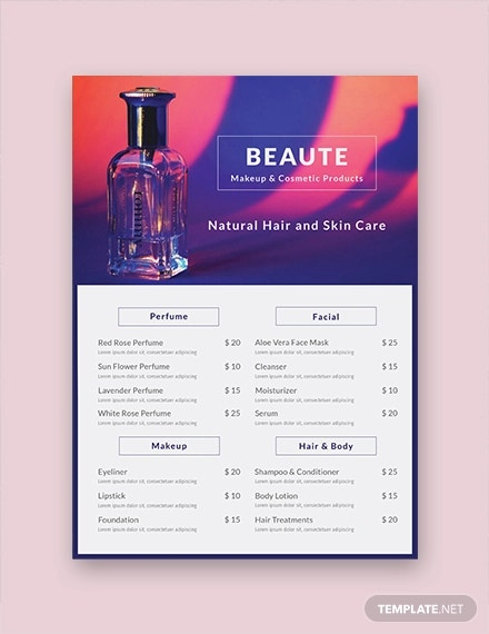 free product menu template