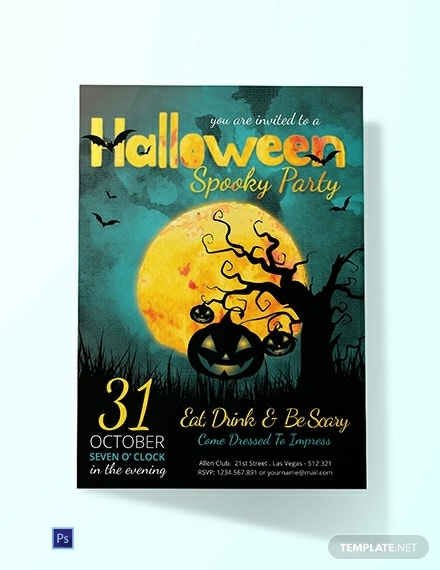 free spooky halloween party invitation template 440x570 11