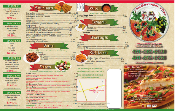 free takeout menu template