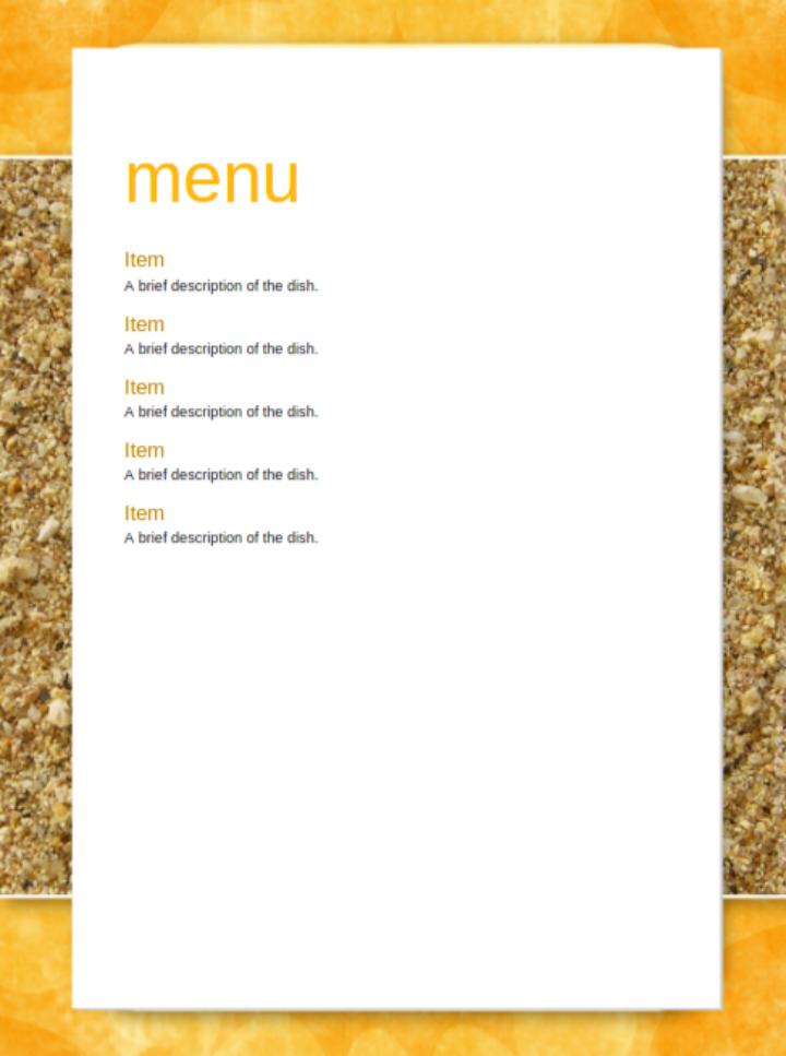free yellow party menu template