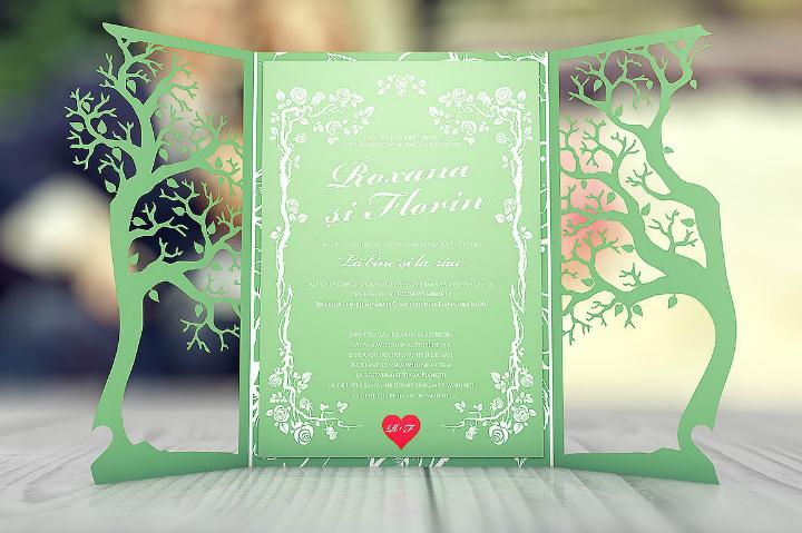 gatefold floral wedding invitation template