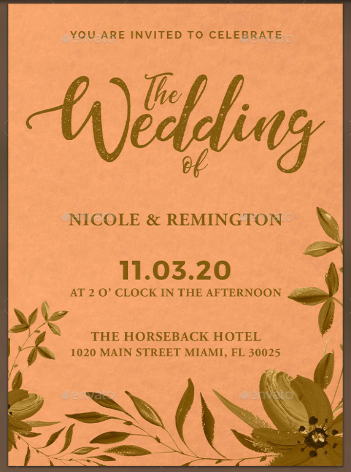 Gold And Peach Wedding Invitation Template