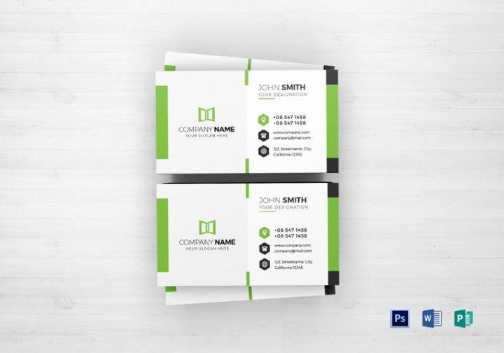 green-white-business-card-template