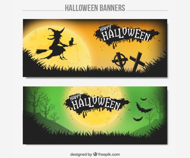 halloween bat banner set
