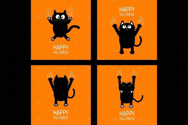 Halloween Black Cat Claw Scratch Set