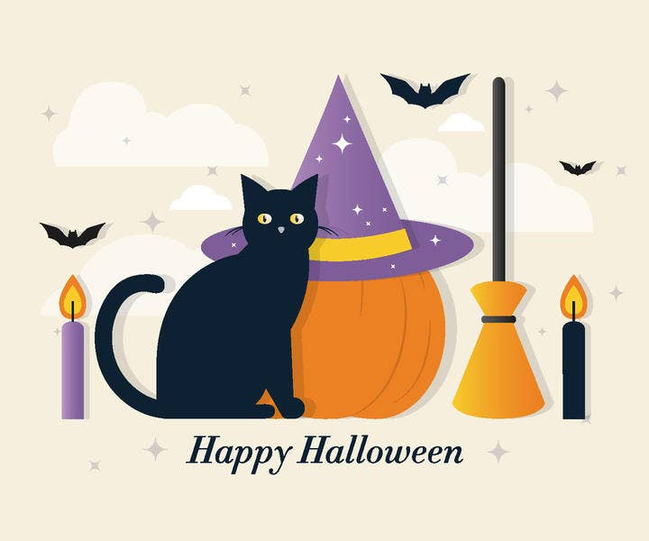 Halloween Cat Vector Elements