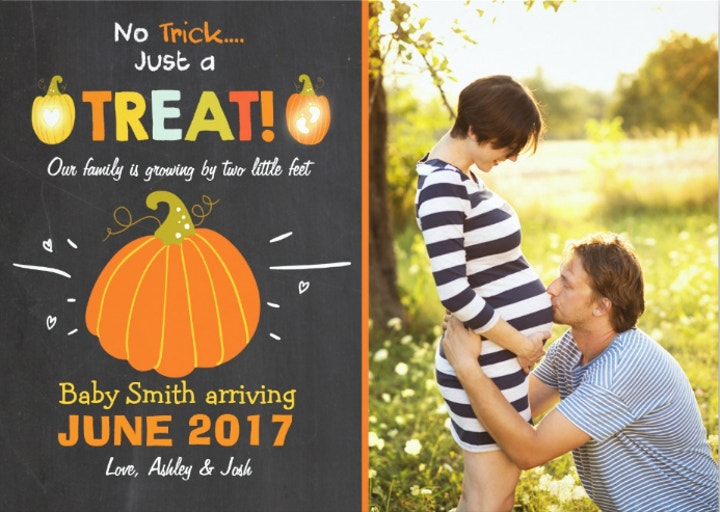 Halloween Pregnancy Announcement Card