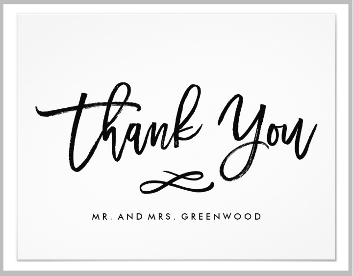 hand lettered wedding thank you card
