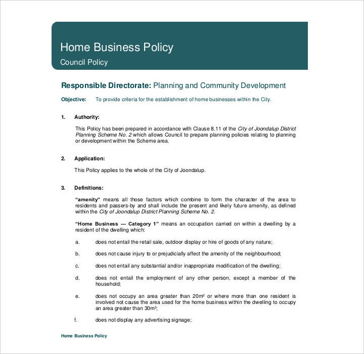Home Business Policy Template