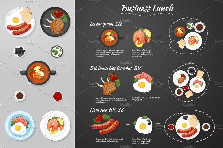 illustrated business lunch menu design
