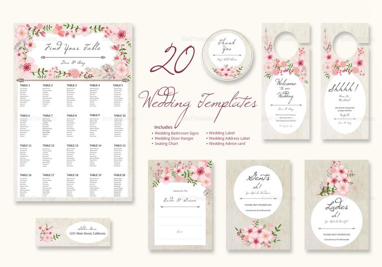 InDesign Pink Floral Wedding Pack