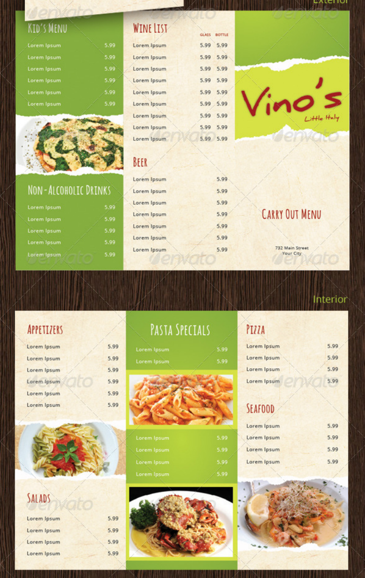 italian restaurant rustic takeaway menu design