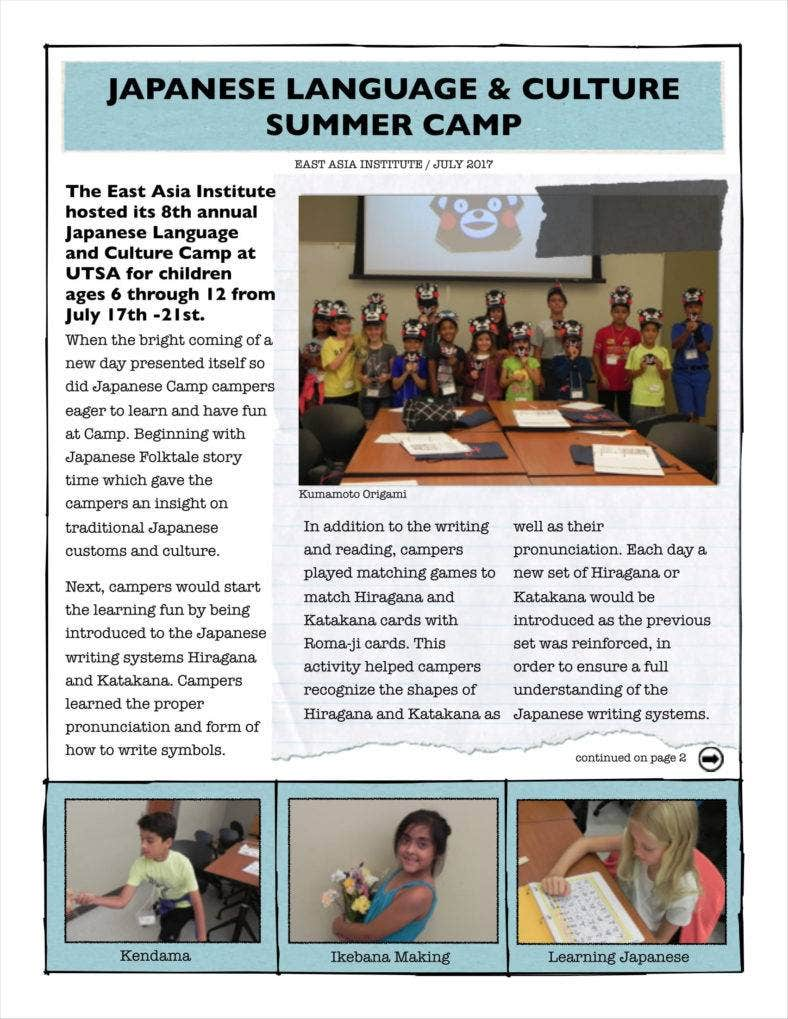 9 camp newsletter templates free pdf format download free