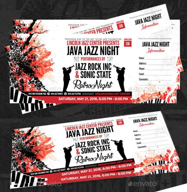 Jazz Night Concert Ticket Template  Concert Ticket Layout