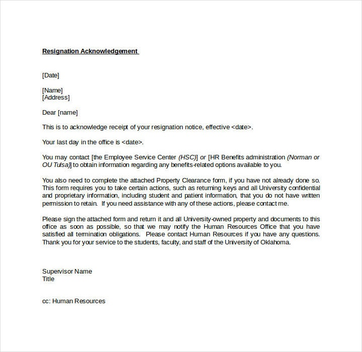 Job Resignation Acknowledgement Letter