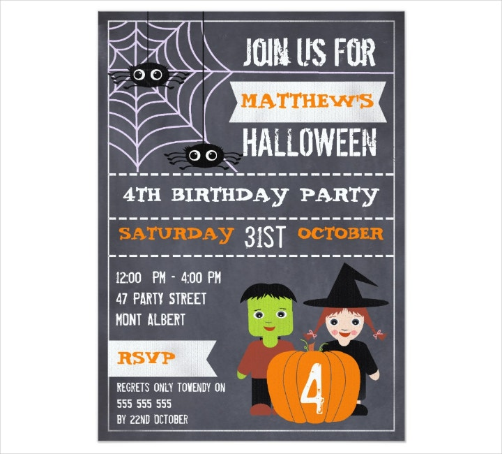 Kids' Halloween Chalkboard Birthday Invitation