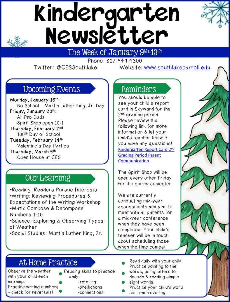 free newletter templates - 9 kindergarten newsletter templates free samples