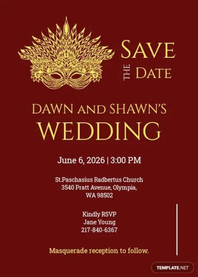 masquerade save the date invitation template