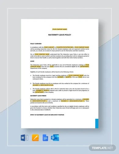 maternity pregnancy leave policy template