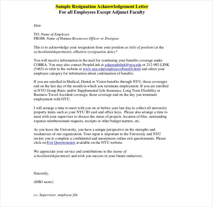 9+ Resignation Acknowledgement Letter Templates - PDF, Word
