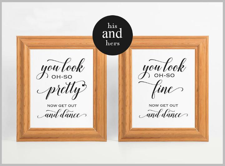 minimalist wedding bathroom signs template
