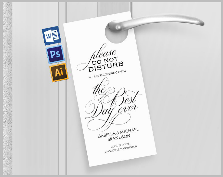 New 14+ Wedding Door Hanger Templates - Editable PSD, AI Format  WM73